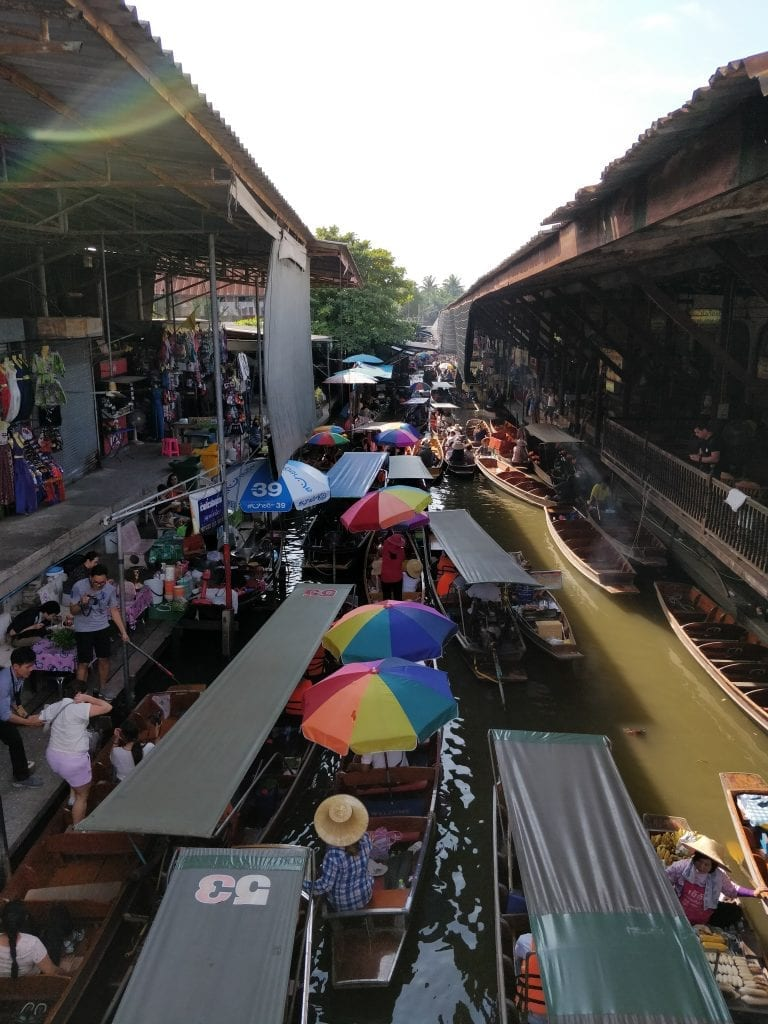 top view from the floating market