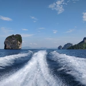The beautiful view from the boat at krabi