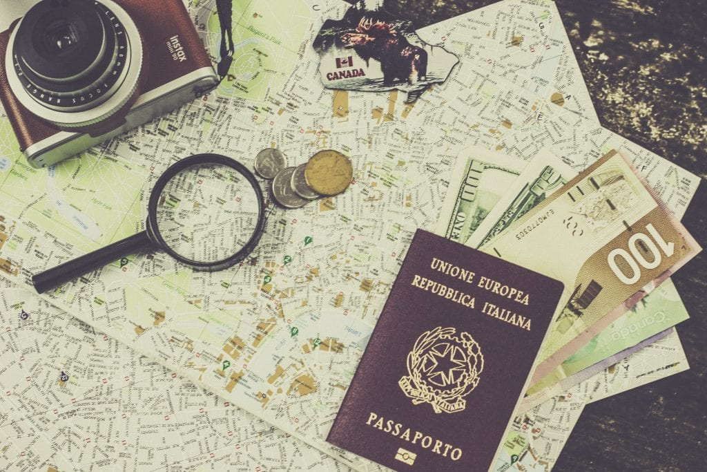 Travel documents and camera