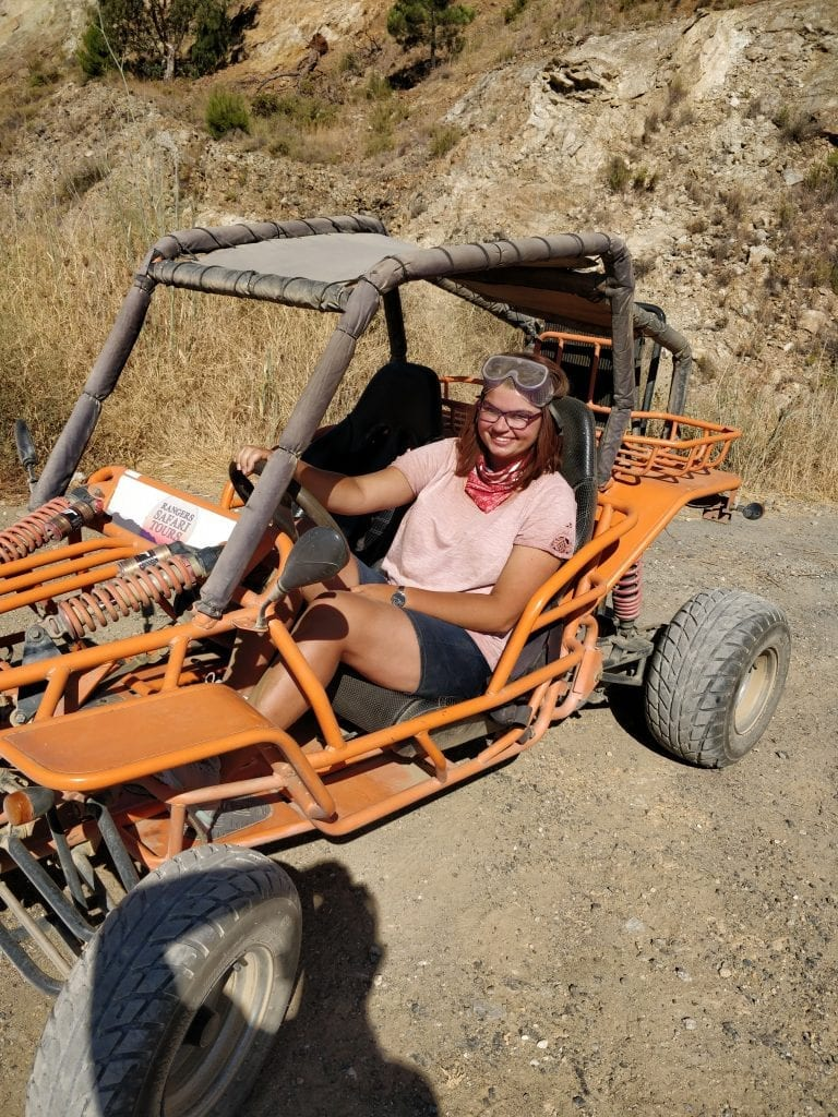 WithCaitlyn in a buggy, Andalusia, Spain