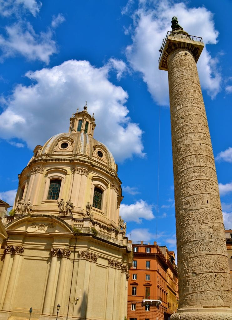 The carvings on Trajan's Column tell the story of Trajan's victory over the Dacians (modern-day Romania). The carvings would measure about 660 feet (200 meters) if stretched out.