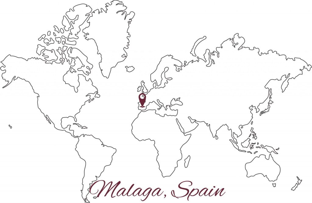 World map outline Malaga, Spain